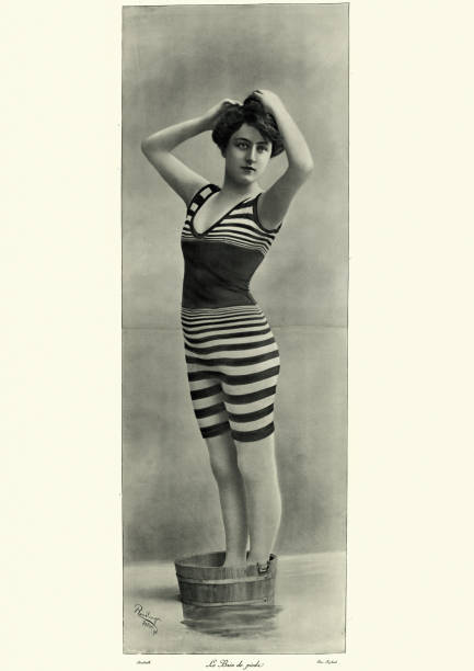 Beautiful young woman in bathing costume, Victorian, 19th Century stock photo