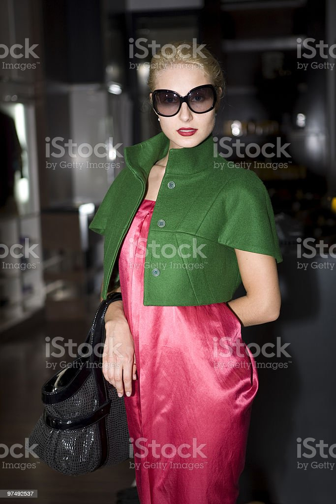 beautiful young woman in big fashion sunglasses royalty-free stock photo