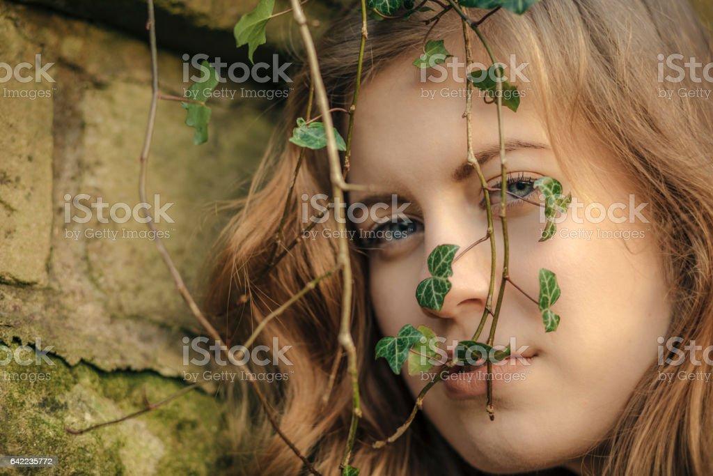 Beautiful young woman in black stock photo