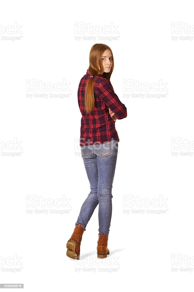 Beautiful young woman in checkered shirt back portrait. stock photo