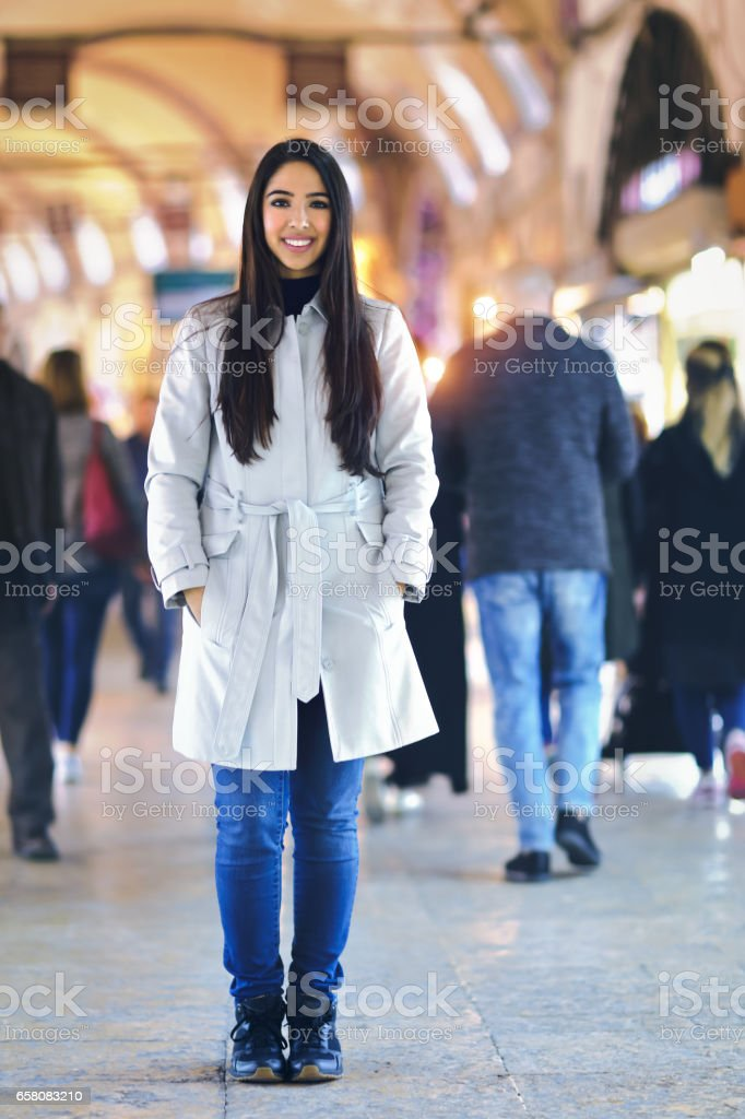 Beautiful young woman in Grand Bazaar, Istanbul, Turkey royalty-free stock photo