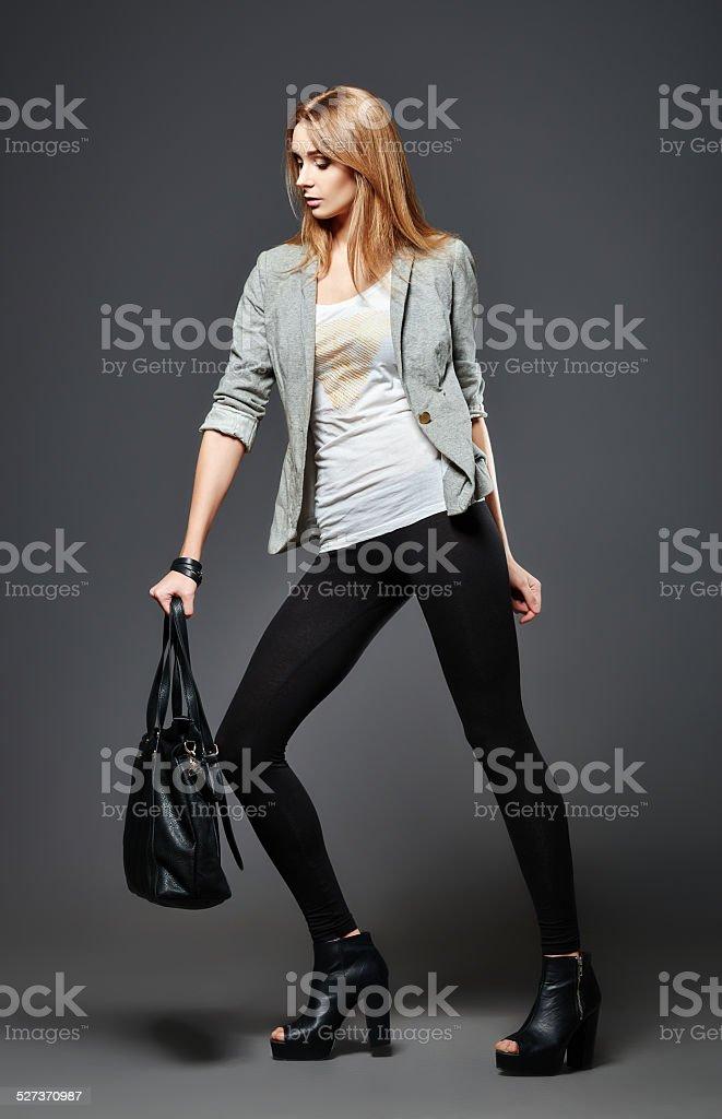 Borsa Leggings Giovane Camicia Bellissima Donna Con Giacca E f0nw8WR