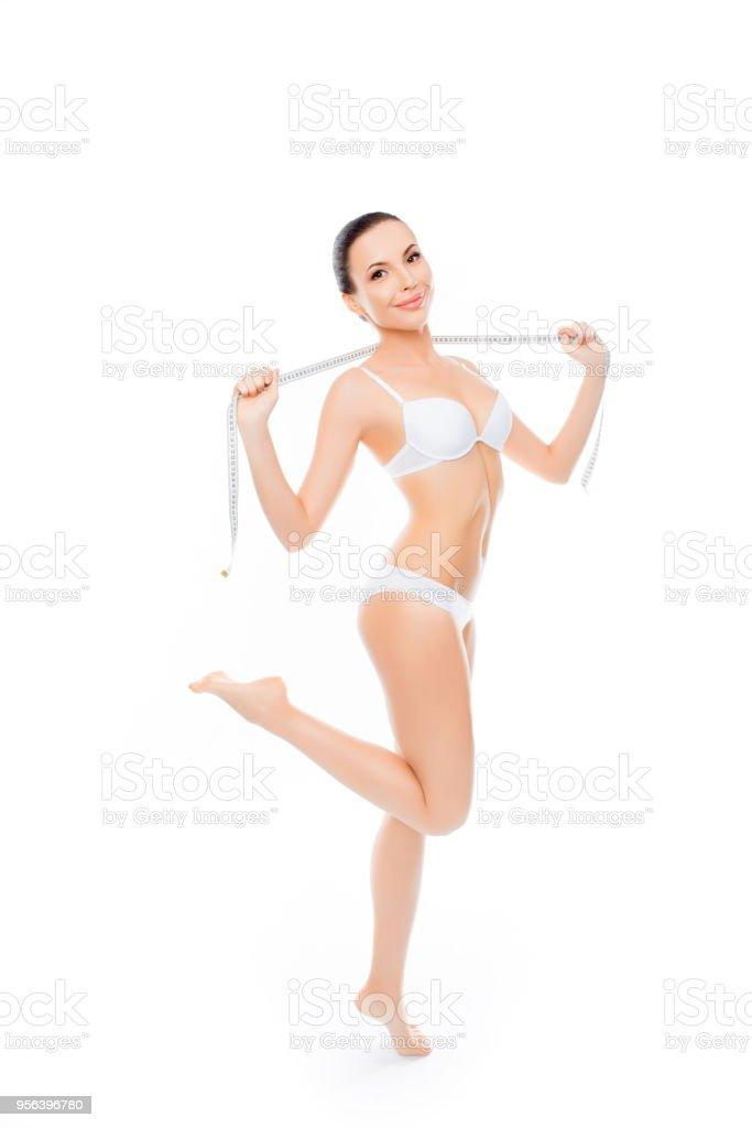 cd481313885f90 Schöne Junge Frau In Dessous Zu Messen Ihren Körper Stockfoto und ...
