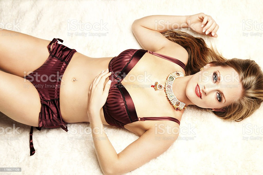 Beautiful Young Woman in Lingerie royalty-free stock photo