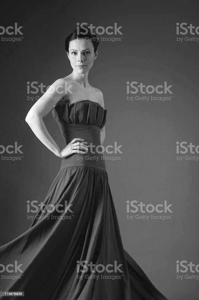 Beautiful young woman in  long dress royalty-free stock photo