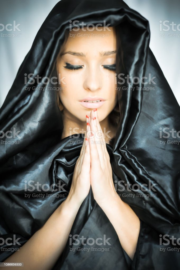 Beautiful Young Woman In Prayer Nun Close Up Portrait Of Young Nun Nun Is Praying Beautiful Woman In Old Fashioned Dress And Big Gold Cross Stock