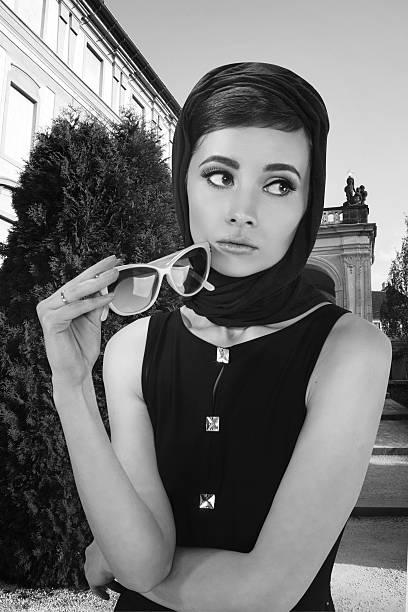 beautiful young woman in retro style stok fotoğrafı