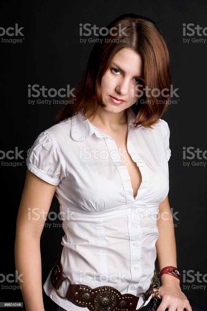 Beautiful young woman in white chemise royalty-free stock photo