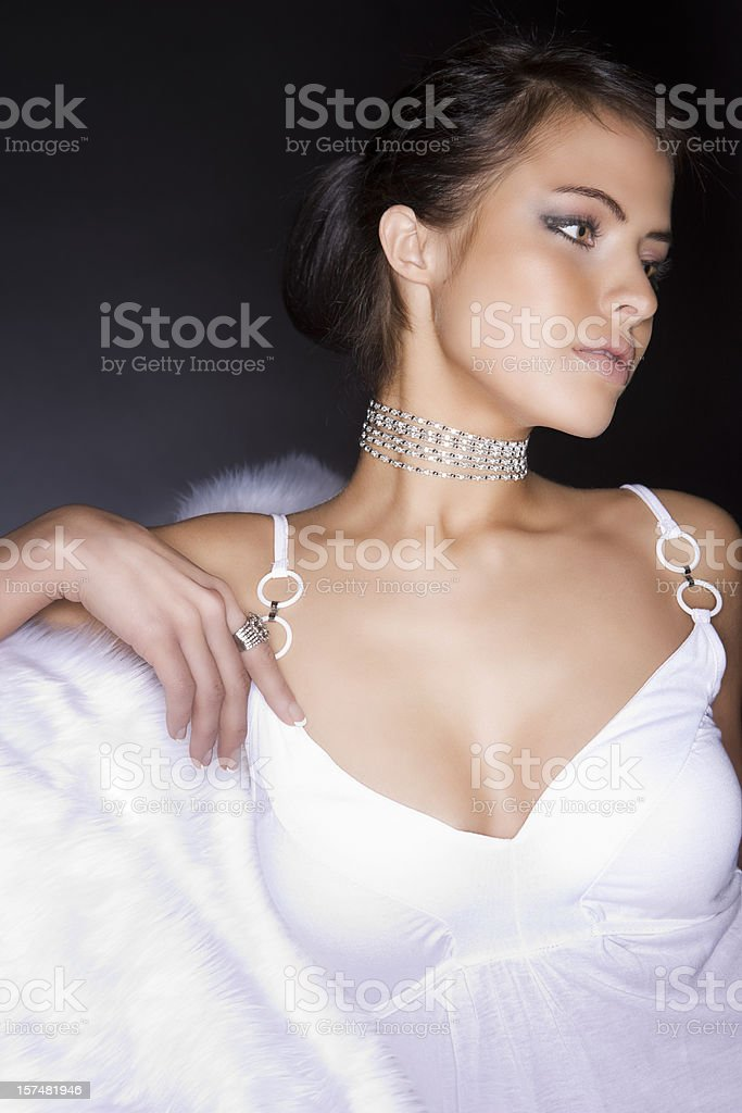 Beautiful Young Woman in White Lingerie Wearing Diamonds, Copy Space stock photo