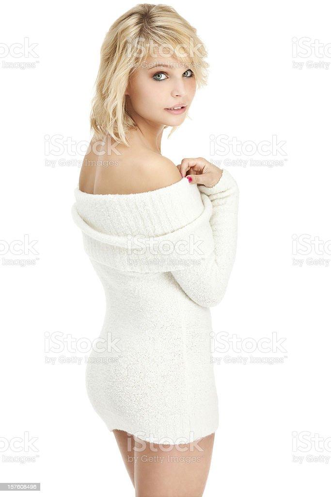 Beautiful Young Woman in White Sweater Dress stock photo