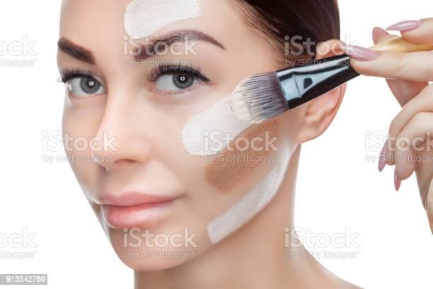 Beautiful young woman is applying a foundation on her face with a picture id913542786?b=1&k=6&m=913542786&s=612x612&h=mtk5zfmvmq6jqgjwx8 b t4wl0zfvruezt6yvx6ip28=
