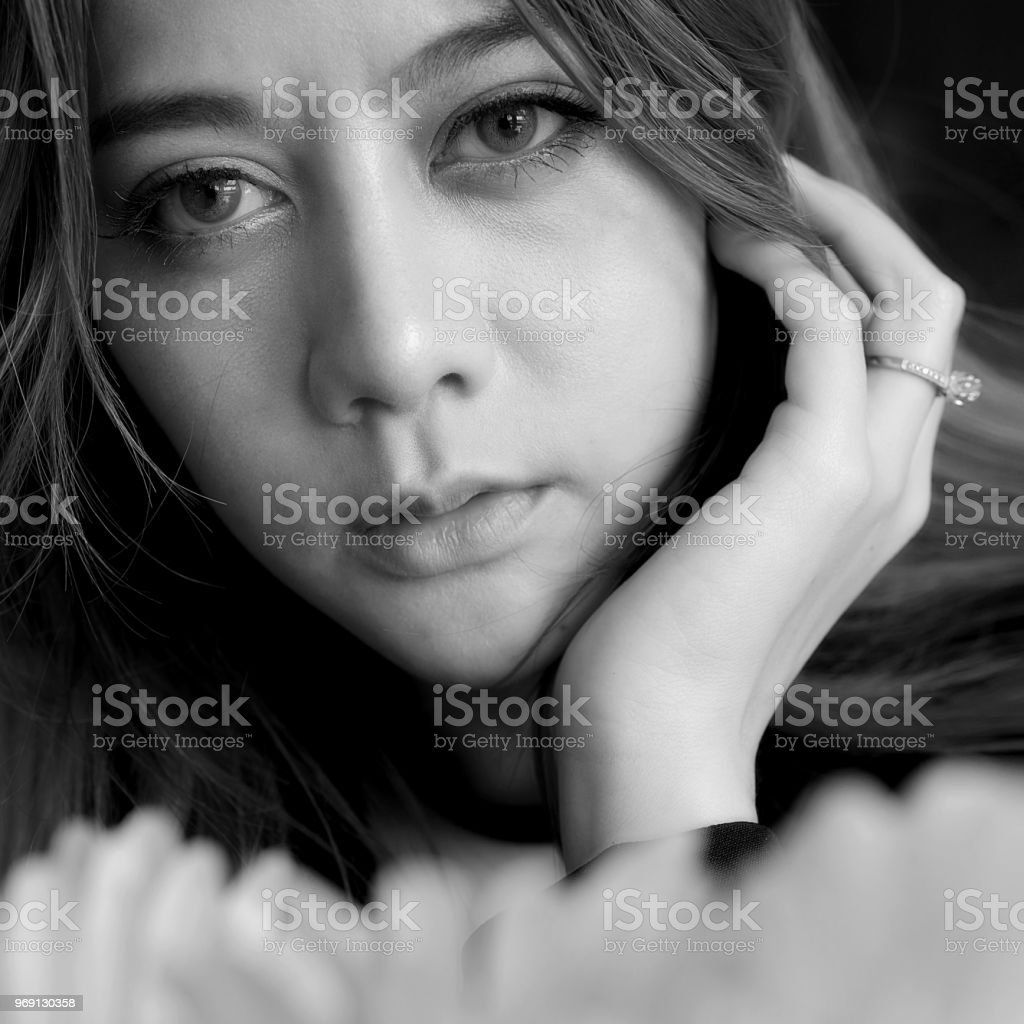 Beautiful young woman lonely, Black and White Concept . stock photo
