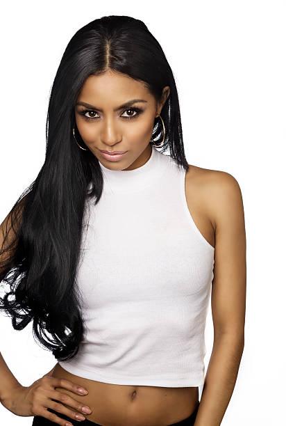 Beautiful young woman long dark hair stock photo