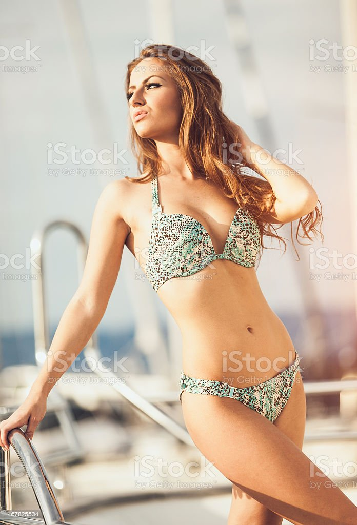 3e44c10dd1 Beautiful Young Woman On A Sail Boat Stock Photo & More Pictures of ...