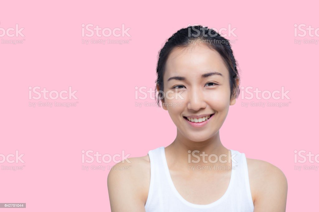 beautiful young woman on a white background, beauty concept. stock photo