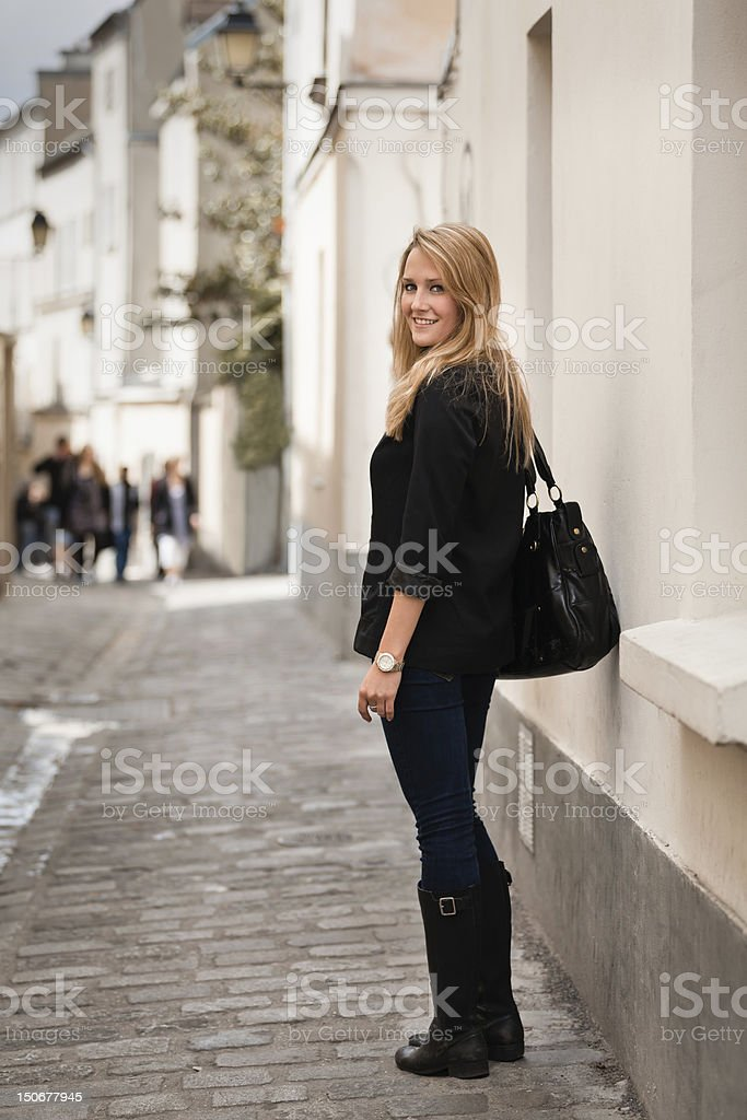 Beautiful Young Woman on Street in Montmartre, Paris stock photo