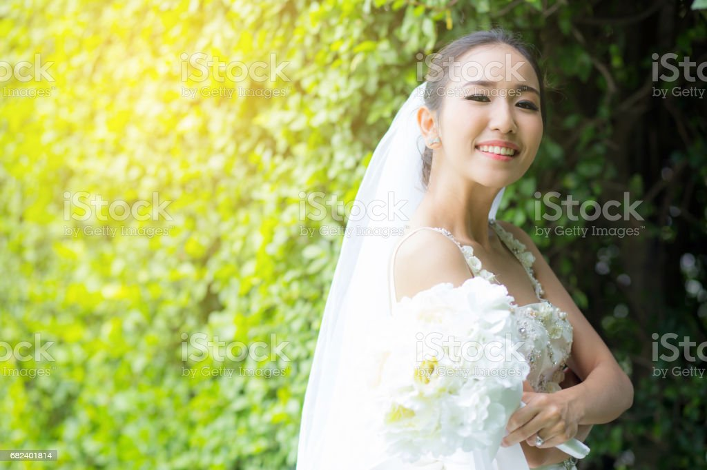 beautiful young woman on wedding day in white dress in the tree wall. Female portrait in the park - Selective focus royalty-free stock photo