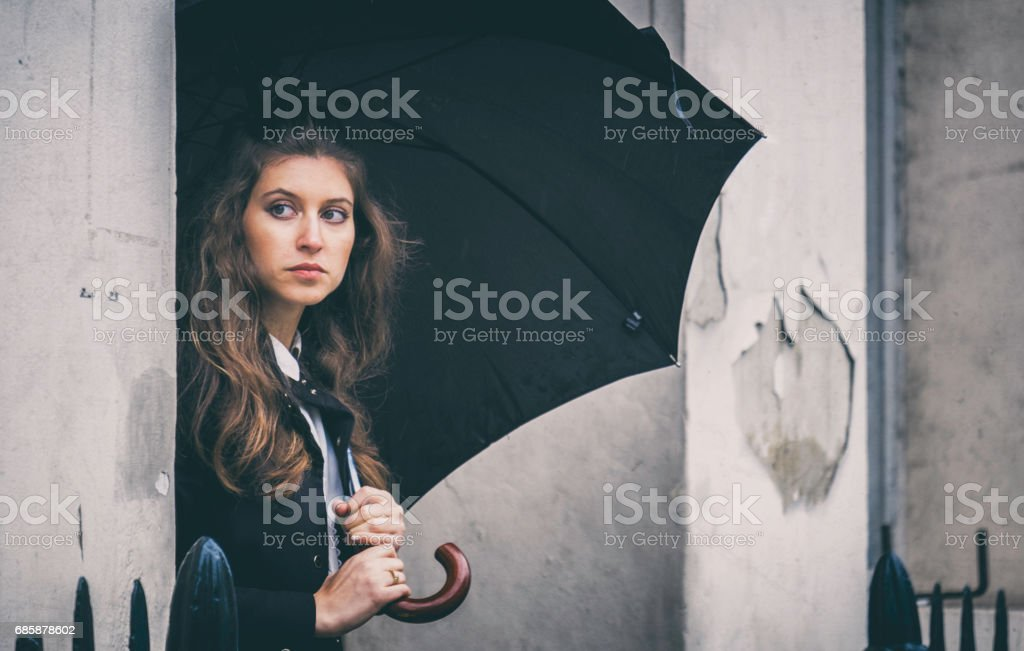 Beautiful Young Woman Outside London Home stock photo