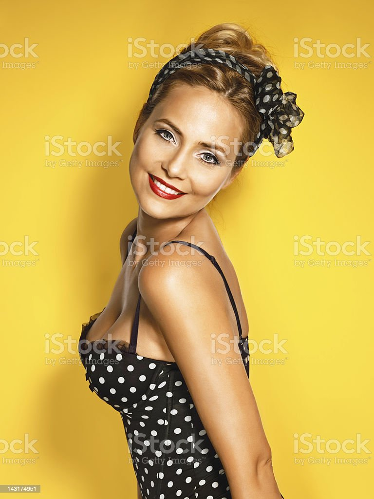 beautiful young woman  pin up style stock photo
