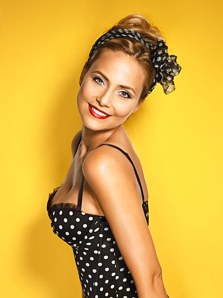 beautiful young woman  pin up style stock photo