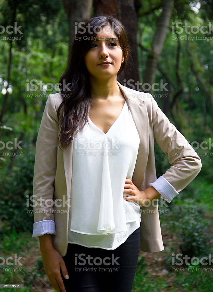 Beautiful young woman posing stock photo