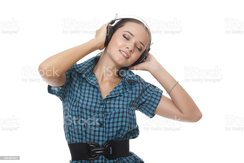 beautiful young woman relaxation listening music in headphones royalty-free stock photo