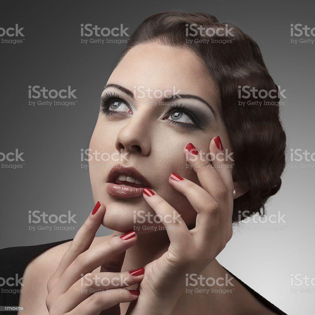 Beautiful young woman retro portrait royalty-free stock photo