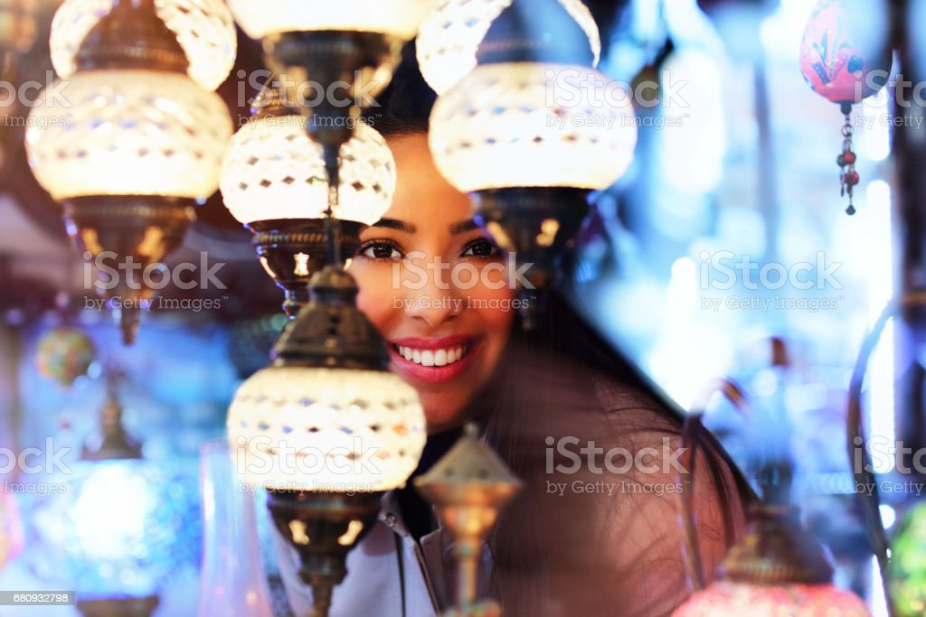 Beautiful young woman shopping in Grand Bazaar, Istanbul, Turkey royalty-free stock photo