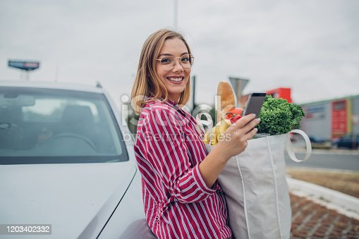 Pretty young woman shopping for groceries and taking them to her car while holding the phone