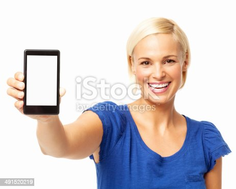istock Beautiful Young Woman Showing Smart Phone 491520219