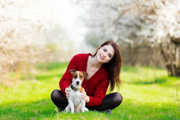 schöne junge frau sitzt vor wunderbar blühenden bäumen mit ihrem hund - hunde strumpfhosen stock-fotos und bilder