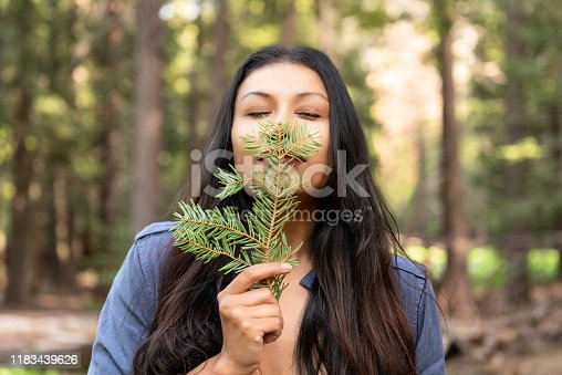 Beautiful young woman smelling the scent of pine.