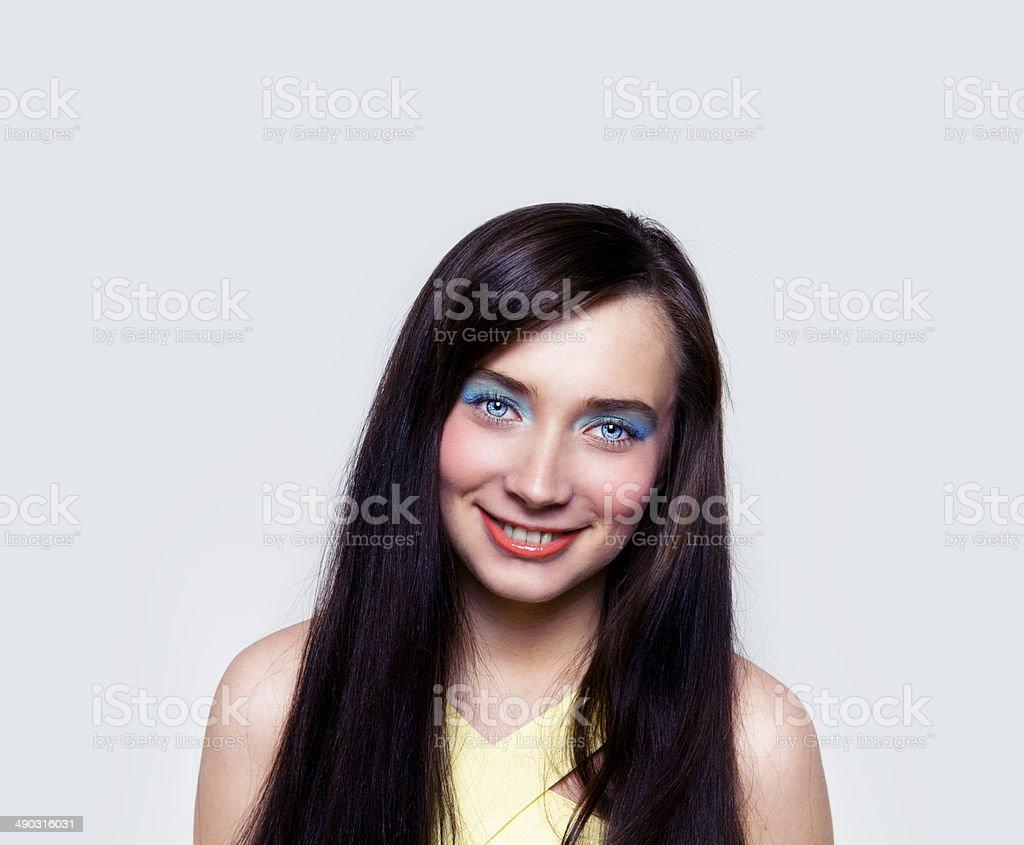 Beautiful young woman smiling stock photo