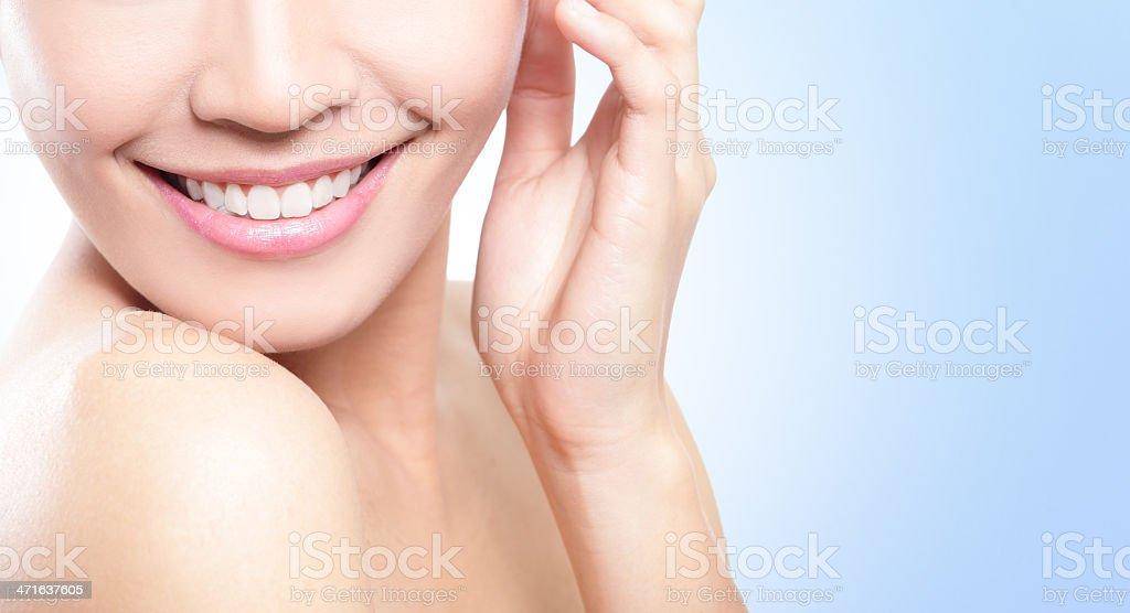Beautiful young woman teeth close up royalty-free stock photo