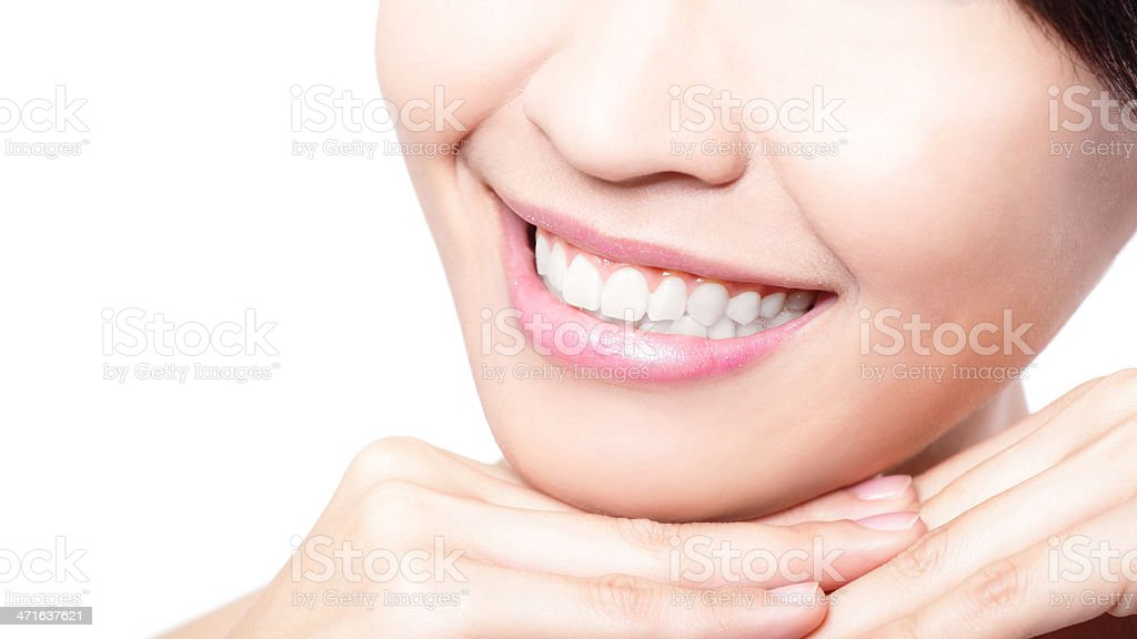 Beautiful young woman teeth close up royalty-free stock photo