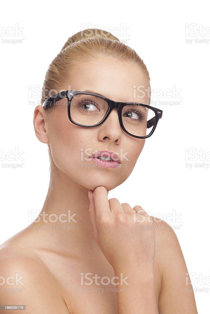 Beautiful young woman thinking. royalty-free stock photo