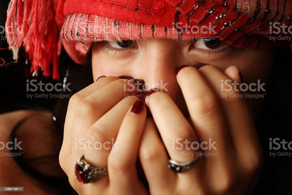 Beautiful Young Woman Wearing a Headscarf royalty-free stock photo