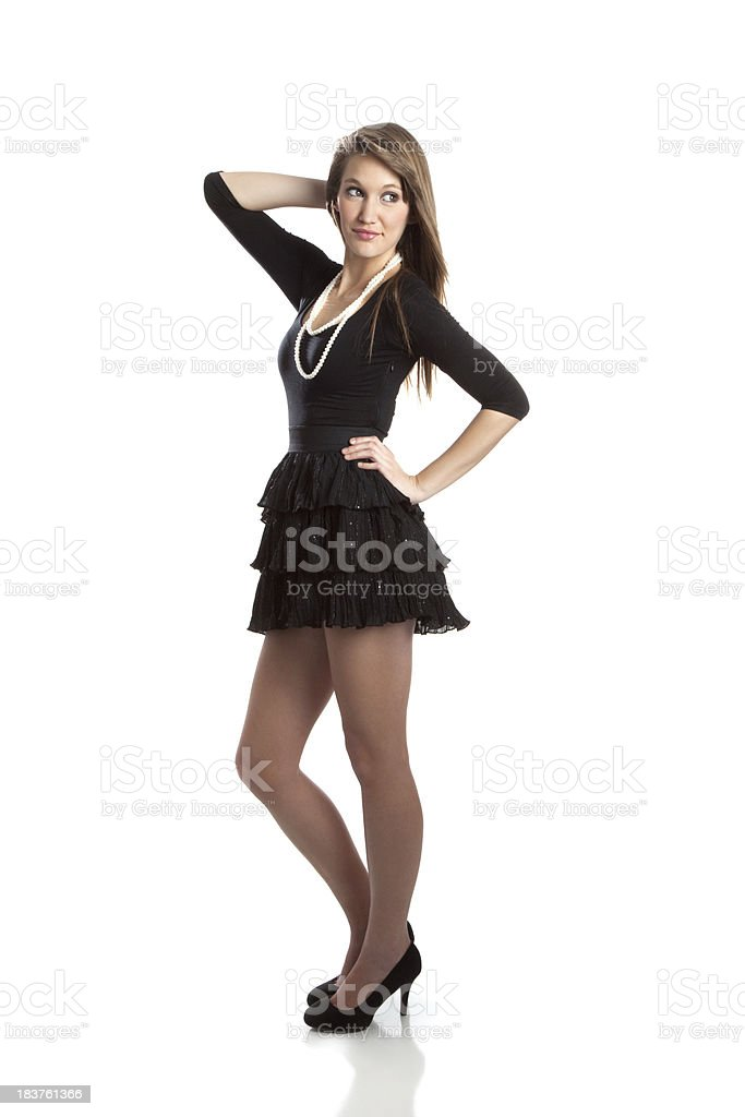 fe23552737d Beautiful Young Woman Wearing Black Dress And Pearls Stock Photo ...