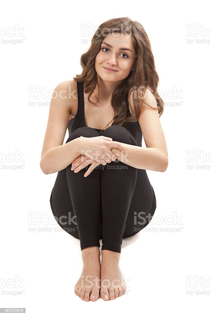 Beautiful young woman wearing black sport clothes stock photo