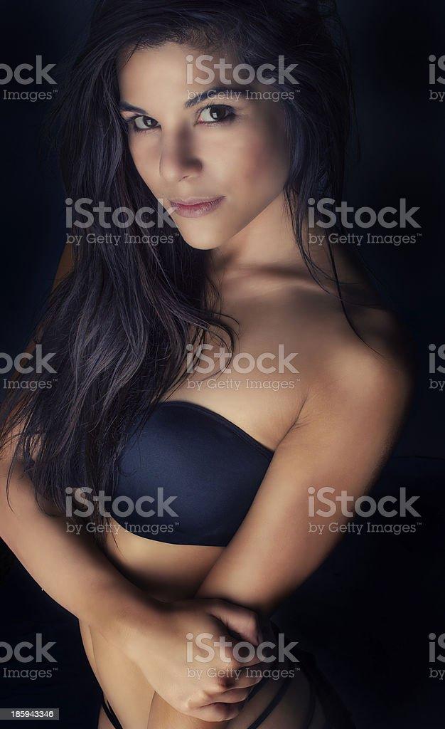 Beautiful Young Woman Wearing Bra Stock Photo Sexy Biracial