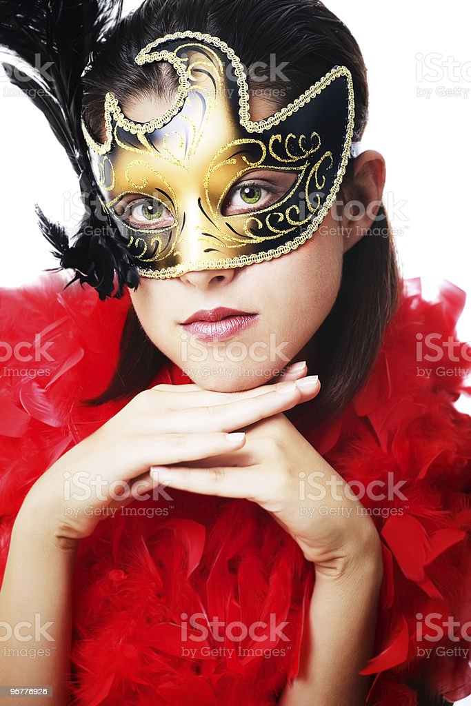 Beautiful young woman wearing carnival mask and feather boa royalty-free stock photo