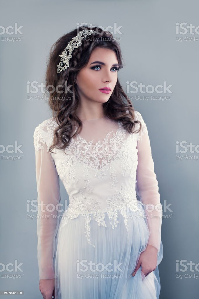 Beautiful Young Woman Wearing Evening Gown Perfect Bride With Bridal