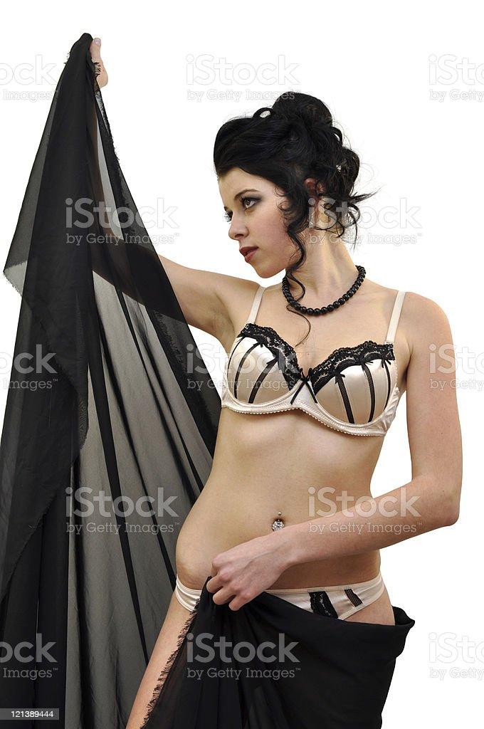 Schöne Junge Frau Trägt Dessous Glamoursatin Stock Fotografie Und
