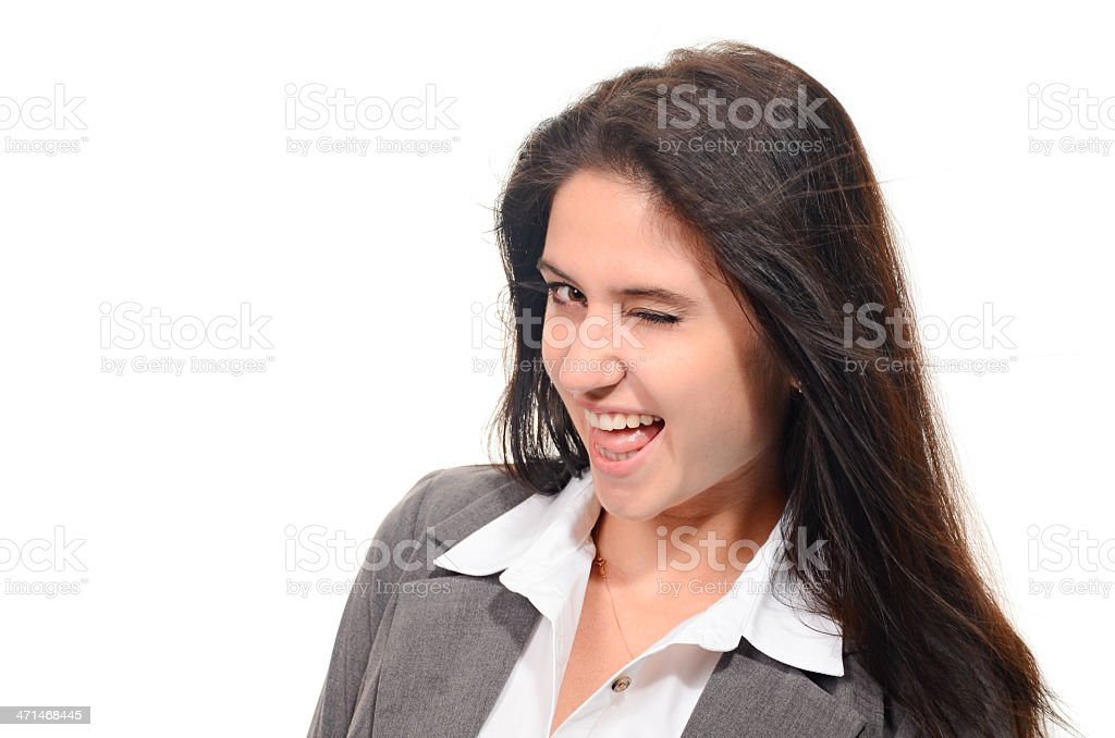 Beautiful Young Woman Winking With A Big Flirtiing Smile royalty-free stock photo