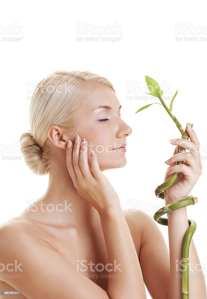 Beautiful young woman with a bamboo plant royalty-free stock photo