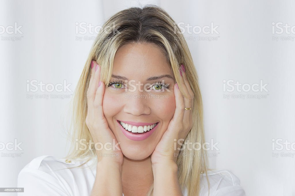 Beautiful young woman with a look of surprise royalty-free stock photo