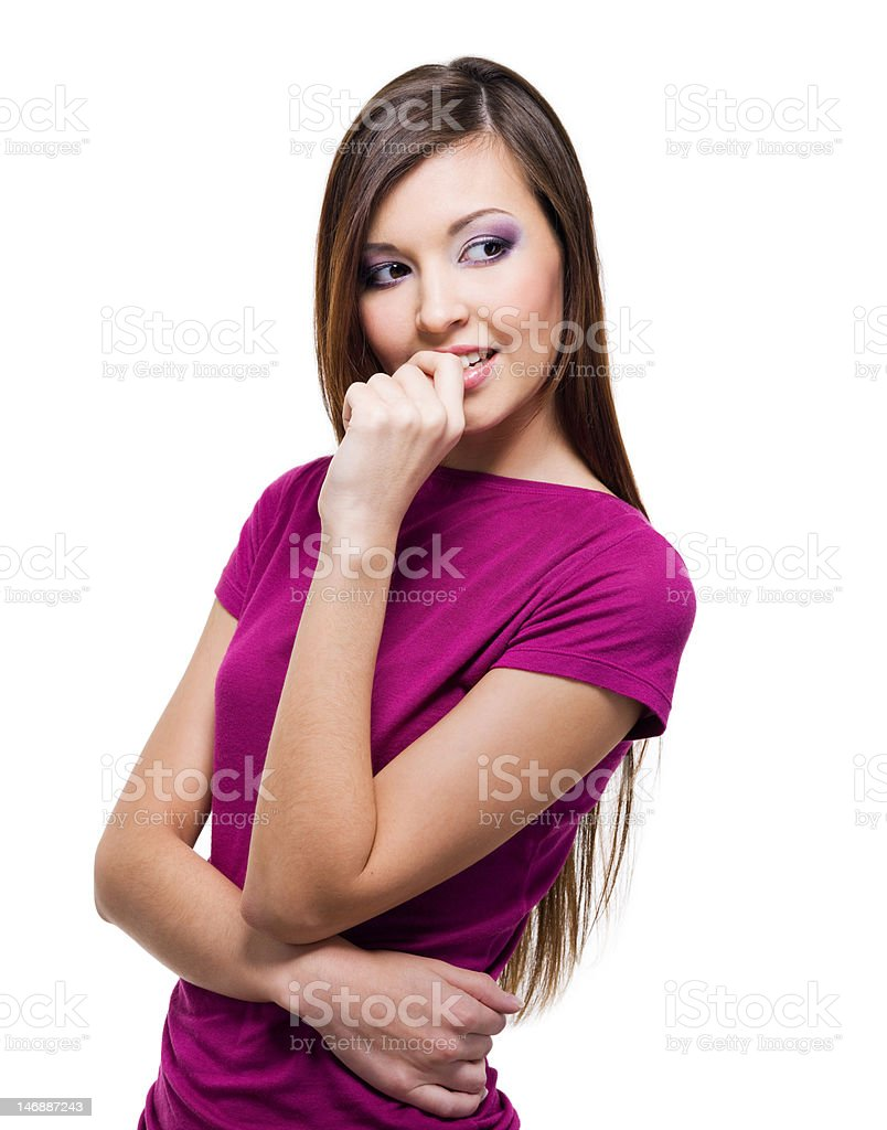 beautiful young woman with an sly  look royalty-free stock photo