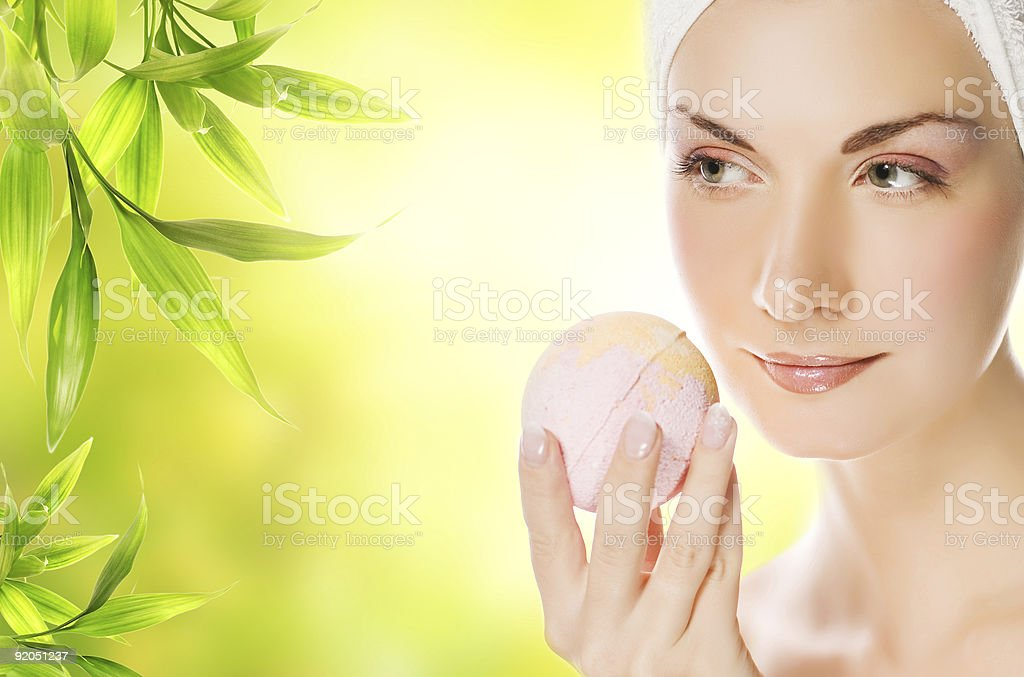 Beautiful young woman with aroma soap royalty-free stock photo