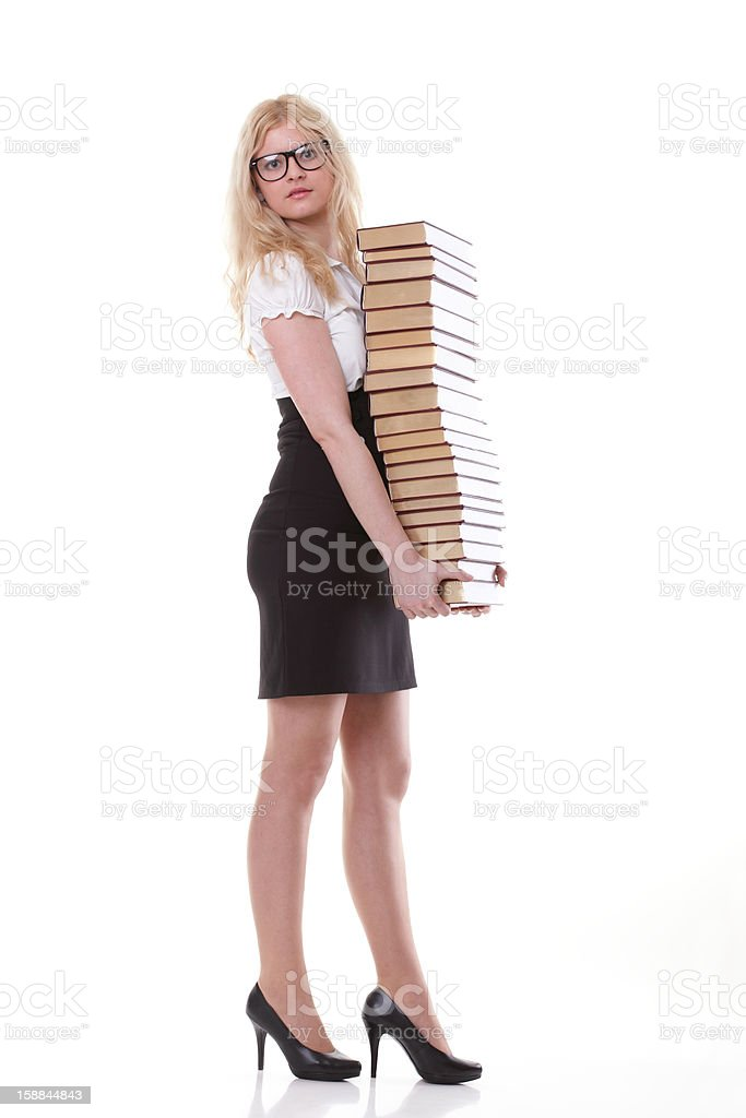 Beautiful young woman with books white background royalty-free stock photo