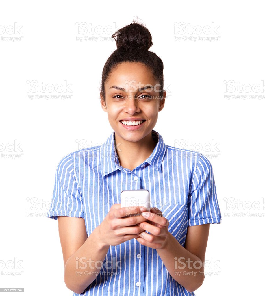 Beautiful young woman with cellphone stock photo